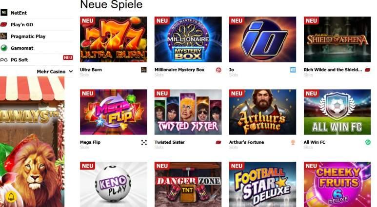Ein Screenshot vom Interwetten Casino